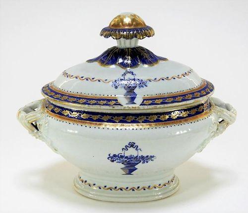 Chinese Export Porcelain Flower Basket Tureen