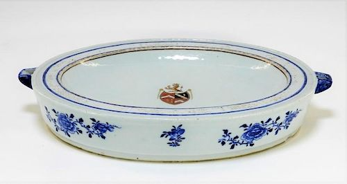 LG Chinese Export Armorial Porcelain Entree Warmer