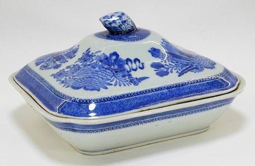 19C. Chinese Export Blue Fitzhugh Porcelain Tureen