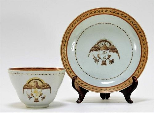 Chinese Armorial Eagle Porcelain Tea Cup & Saucer