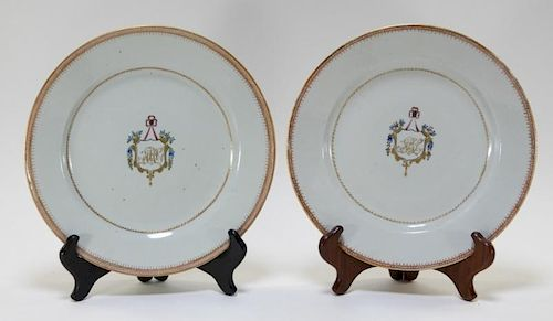 PR Chinese Export Pseudo Armorial Porcelain Plates