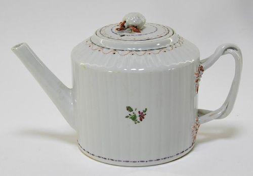 Chinese Export Round Floral Porcelain Tea Pot