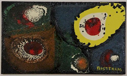 BISTTRAM, Emil. Enamel on Board. Untitled Abstract