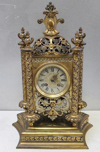 Antique Ornate Gilt and Silver Bronze Clock Signed
