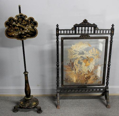 Antique Fire Screen and A Chinoiserie Decorated