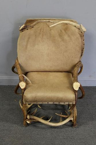 Custom Quality Antler Chair With Hide Upholstery