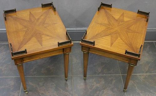 Pr Of End tables With Brass Mounts and Star Inlay
