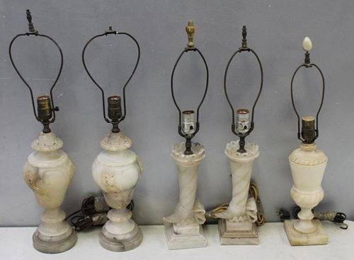 Lot Of Antique  5 Alabaster Lamps.