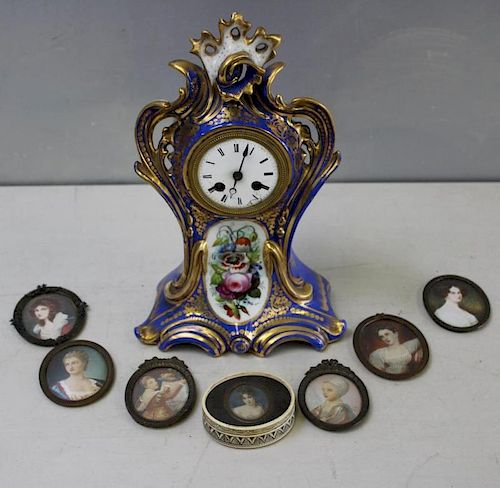Antique Grouping To Inc A Sevres Style Clock and