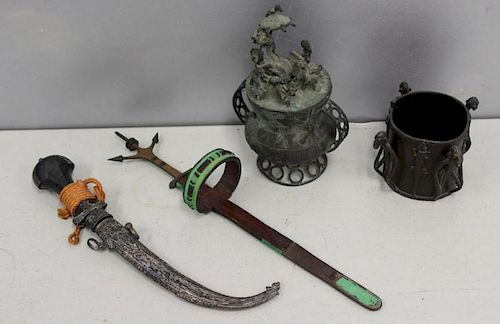 2 Antique Knives and 2 Antique Bronze Figural
