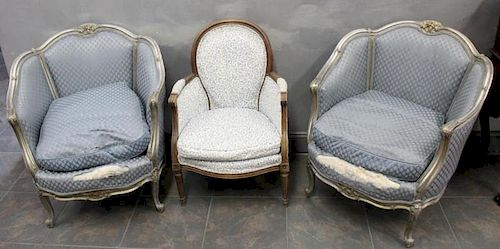 Pair Of Antique French Bergeres Together With