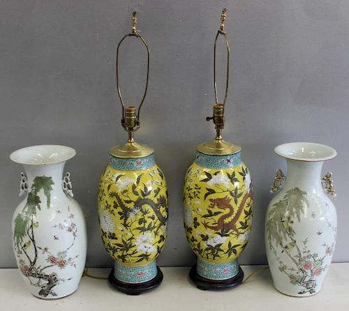Pr of Chinese Porcelain Lamps and A  Pair Of Vases