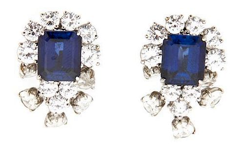 A Pair of Faux Sapphire and Cubic Zirconia Earrings Length 1 1/4 inches.