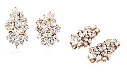 A Pair of Goldtone and Rhinestone Cluster Convertible Drop Earclips Length 2 1/4 inches.