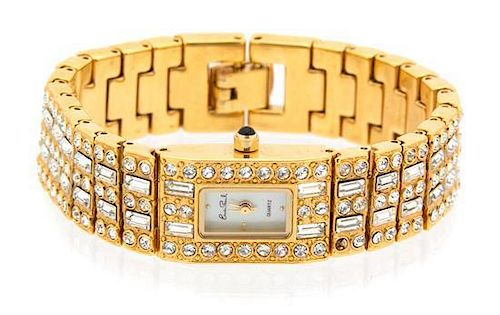 An Erwin Pearl Goldtone and Cubic Zirconia Lady's Wristwatch Length 6 1/2 inches.