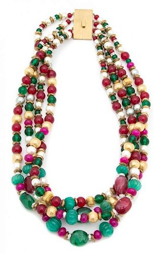 A Four Strand Faux Pearl, Green, Pink and Gold Beaded Necklace Length 21 inches.