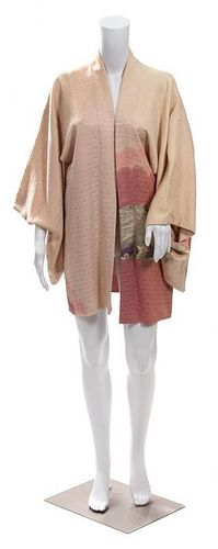A Japanese Pink Rinzu Silk Haori Jacket with Floral Embroidery