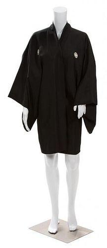 A Japanese Men's Black Silk Haori Jacket