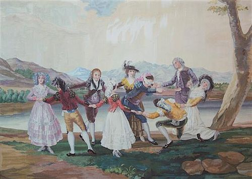 A French Handmade Tapestry Height 67 x width 93 inches.