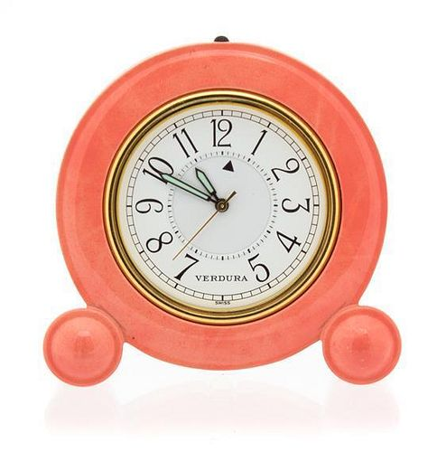 A Verdura Coral Enameled Brass Travel Alarm Clark Height 2 1/4 inches.