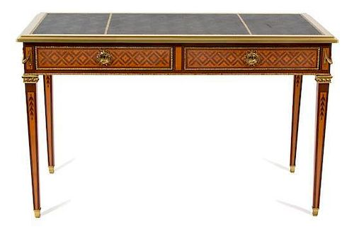 A Louis XVI Style Marquetry Gilt Metal Mounted Bureau Plat Height 32 x width 51 1/2 x depth 25 inches.
