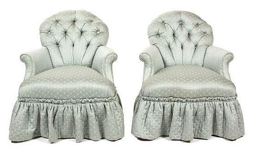 A Pair of Button Tufted Upholstered Boudoir Chairs Height 34 inches.