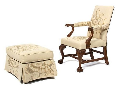 A George II Style Carved Mahogany Gainsborough Chair Height 40 inches.