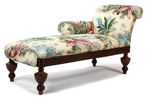A Regency Colonial Style Mahogany Chaise Lounge Height 35 x length 65 inches.