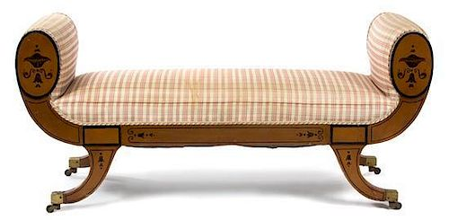 A Regency Style Faux Painted Window Bench Height 26 1/2 x width 55 1/2 x depth 18 inches.