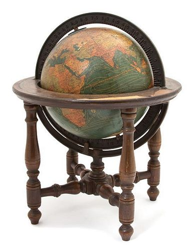 A Kittinger Co. Terrestrial Globe Height 14 inches.