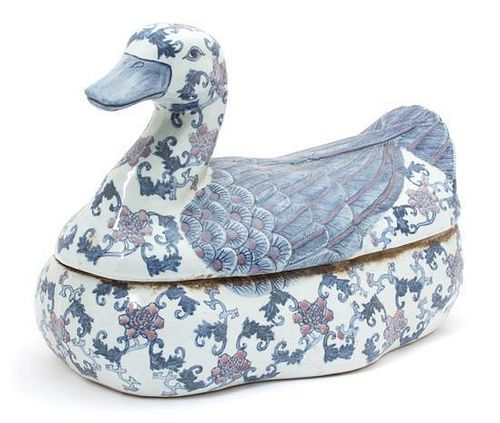 A Chinese Blue and White Porcelain Duck-Form Covered Vessel Height 10 x length 15 x width 8 inches.