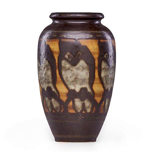 CHARLES CATTEAU Large Grès Keramis vase with owls