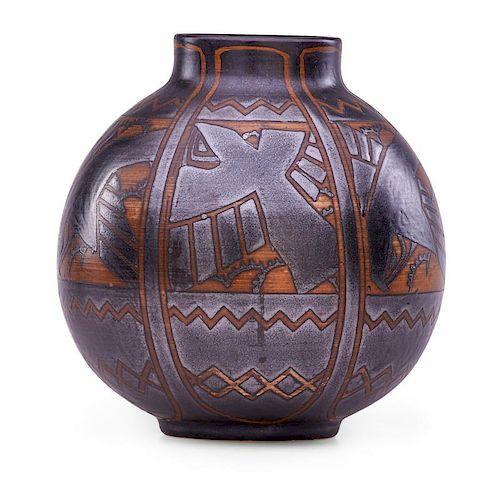 CHARLES CATTEAU Grès Keramis vase with crows