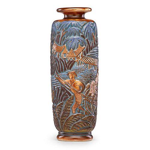MOUGIN Tall Art Deco vase with river scene
