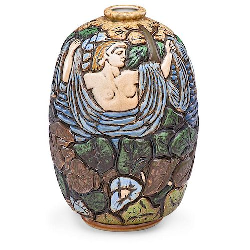MOUGIN Art Deco vase with bathing woman