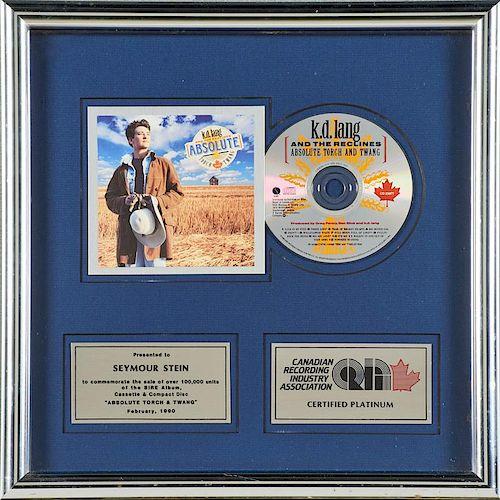 K.D. LANG CRIA Platinum sales award
