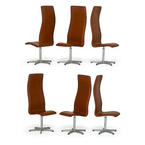 A. JACOBSEN; FRITZ HANSEN Six Oxford chairs