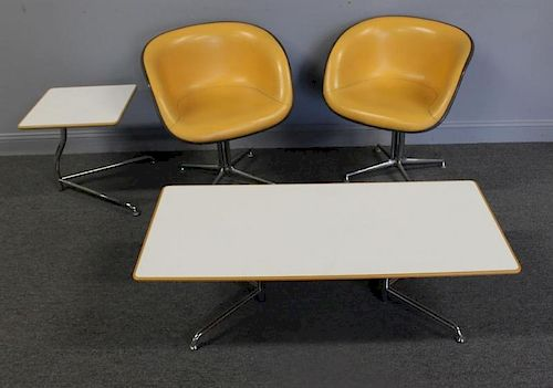 MIDCENTURY. Pr of Eames : Chairs &  2  Tables