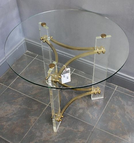 MIDCENTURY. Lucite , Brass and Glass Top Center