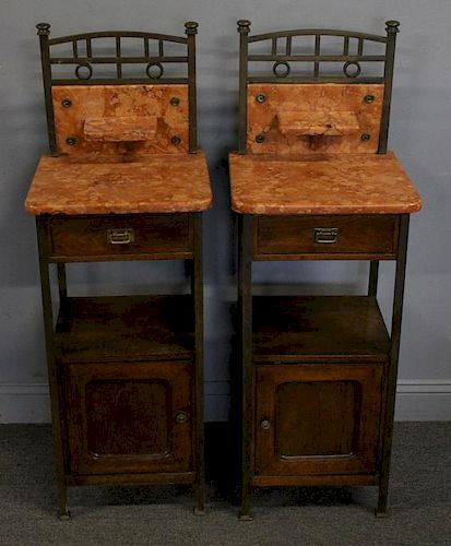 Pair Of Victorian Marble and Brass End Tables