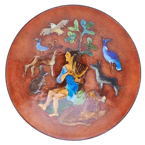 KARL DRERUP Enameled bowl w/ St. Francis