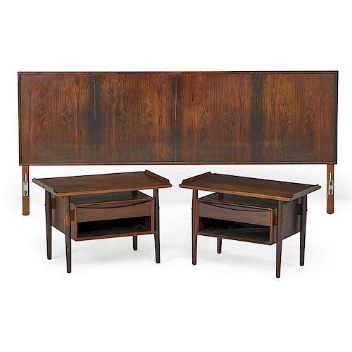 ARNE VODDER Pair of nightstands and headboard