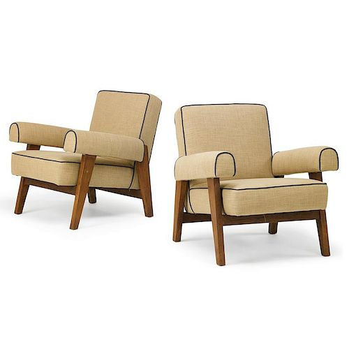 JEANNERET; LE CORBUSIER Pair of lounge chairs