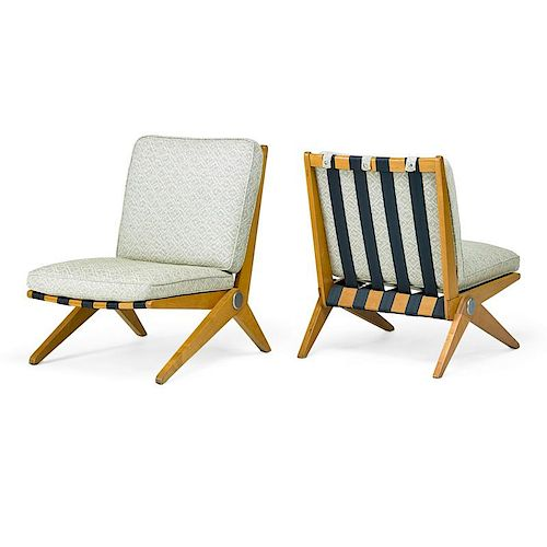 PIERRE JEANNERET; KNOLL Pair of lounge chairs