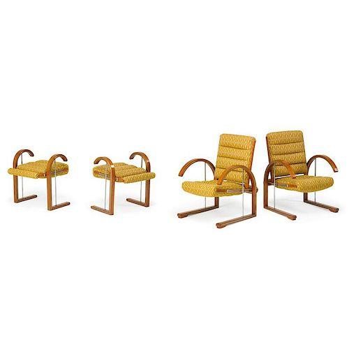 DAKOTA JACKSON Pair of lounge chairs, benches