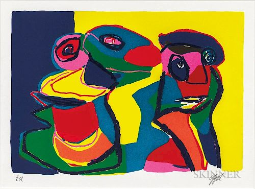 Karel Appel (Dutch, 1921-2006)    Untitled (Deux Personnages)