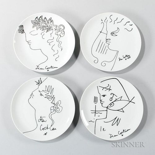 After Jean Cocteau (French, 1889-1963)    Four Luncheon Plates