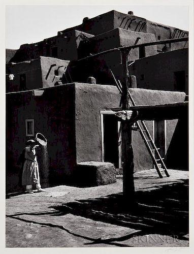 Ansel Adams (American, 1902-1984)  Winnowing Grain, Taos Pueblo, New Mexico