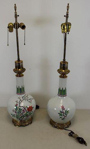Pair Of Quality Antique Enamel Decorated Porcelain