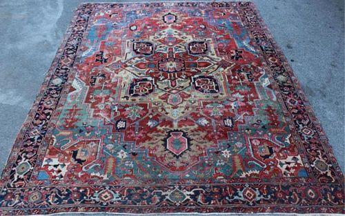 Antique Handmade Roomsize Heriz Style Carpet
